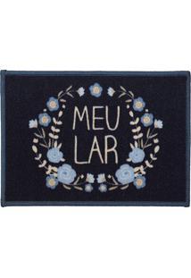 Tapete Cleankasa Meu Lar- Preto & Azul- 60X40Cm-Kapazi