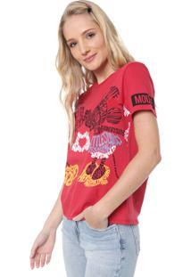 Blusa Cativa Disney Mickey Lettering Vermelha