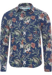 Camisa Masculina Estampada - Azul