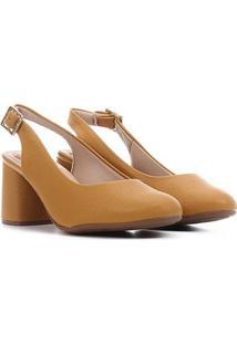 Scarpin Modare Salto Médio Bico Redondo - Feminino-Amarelo
