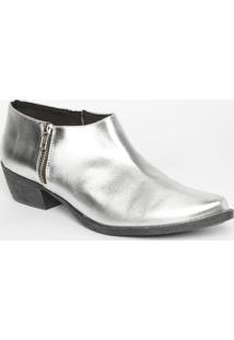 Ankle Boot Metalizada- Prateada- Salto: 4,5Cmmya Haas