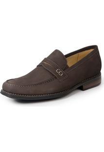 Sapato Social Loafer Sandro Moscoloni Griesman Nobuck Marrom
