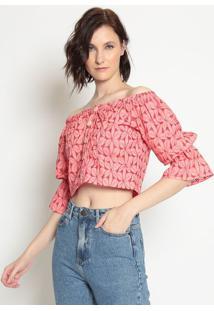 Blusa Cropped Ciganinha Em Laise- Rosa & Vermelhala Chocolãª