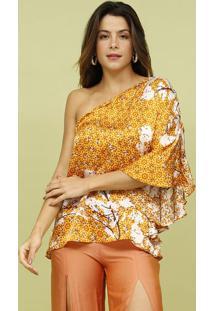 Blusa Ombro ÚNico Em Seda- Amarela & Branca- Mos Beamos Beach Wear
