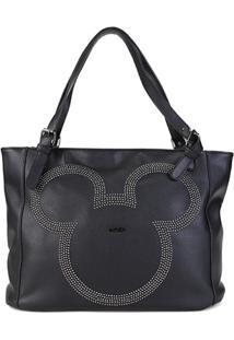 Bolsa Sacola Gash Shopper Aplique Rebites Mickey Feminina - Feminino-Preto