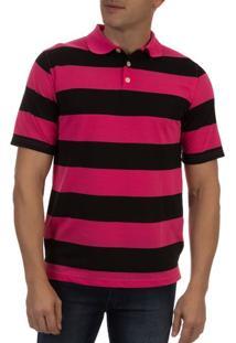 Camisa Polo Masculina Rosa Listarada - G