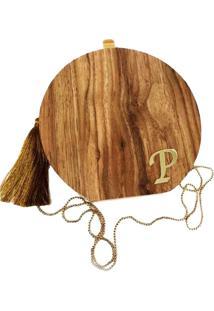 Bolsa La Madame Co Clutch Madeira Com Inicial Pequena Personalizada