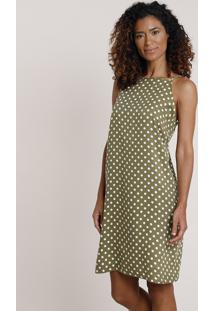 Vestido Feminino Curto Halter Neck Estampado De Poá Alça Fina Verde