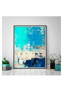 Quadro Com Moldura Chanfrada Arte Abstrata Turquesa E Azul 40X60