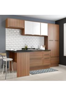 Cozinha Compacta 11 Portas 3 Gavetas 5454R Nogueira/Branco - Multimóveis