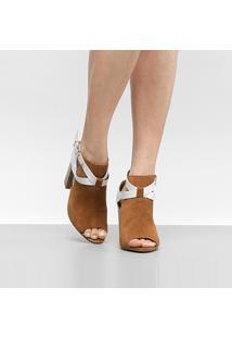 Ankle Boot Cravo & Canela Salto Grosso Camurça - Feminino