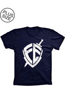 Camiseta Lu Geek Plus Size Escudo Da Fé Azul Marinho