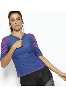Camiseta Com Pespontos & Fpu 50+®- Azul Marinho & Rosauv Line