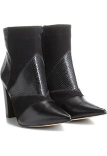 Bota Couro Cano Curto Shoestock Patchwork Feminina - Feminino-Preto