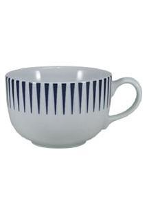 Xícara Café Com Pires 100 Ml Porcelana Schmidt - Dec. Sol Azul