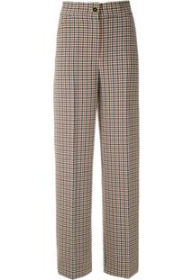 Tory Burch Calça Pantalona Xadrez - Estampado