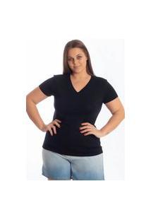 Blusa Básica Plus Size Lisa Decote V Feminina Preto