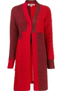 Mcq Alexander Mcqueen Patchwork Knit Cardigan - Vermelho