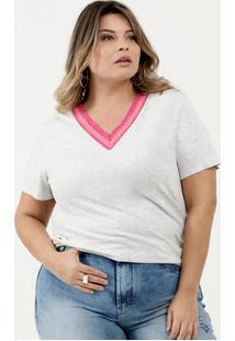Blusa Feminina Lurex Plus Size Manga Curta Marisa