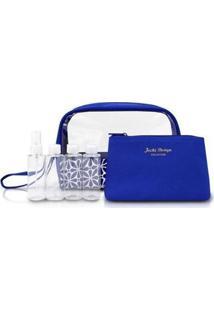 Kit Necessaire Com Frascos Geométrica Jacki Design Étnica Feminino - Feminino-Azul