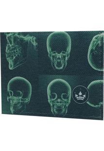 Carteira Super Slim Hoshwear Skull X-Ray Verde