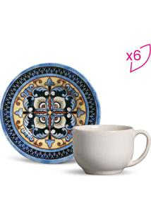 Jogo De Xícaras De Chá Mônaco- Off White & Azul Escuro