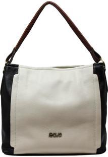 Bolsa De Couro Recuo Fashion Bag Hobo Cacau/Preto