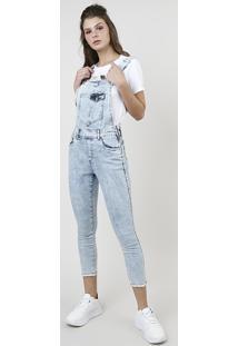 Macacão Jeans Feminino Super Skinny Cropped Com Bolsos Azul Claro