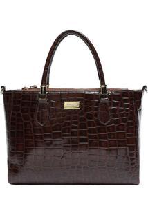 Bolsa De Mão Em Couro Textura Crocodilo- Marrom Escuro