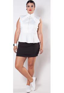 Blusa Kapsuli Plus Size Peplum Branca - Branco - Feminino - Poliã©Ster - Dafiti