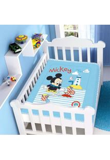 Cobertor Infantil Jolitex Raschel Mickey Barquinho Azul - Kanui