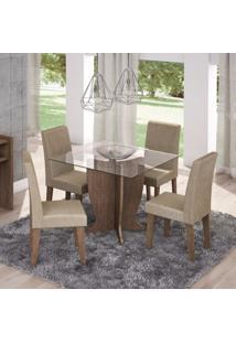 Conjunto Sala De Jantar Mesa Luana 4 Cadeiras Milena 100Cm Cimol Marrocos/Caramelo