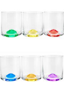 Conjunto Rojemac 6 Copos De Cristal Ecológico Para Whisky Set-Bar Favorit Wave Colorido - Tricae