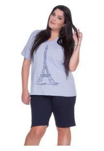 Pijama Curto 100% Algodão E-Pijama (5429) Torre Eiffel Plus Size