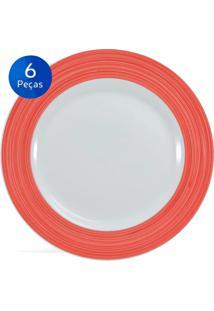 Conjunto Pratos Rasos Saturno 6 Peças Borda Vermelha - Schmidt - Branco / Vermelho