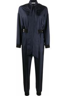 Karl Lagerfeld Macacão Gola V Com Zíper - Azul
