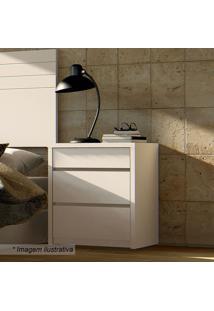 Criado Mudo Premium Com Gavetas- Branco- 59X50,4X40,Casa D
