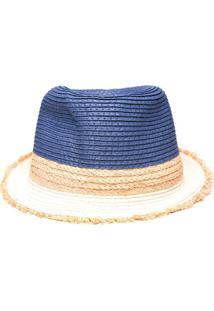 376be4d2df ... Chapéu Fedora De Palha - Azul Escuro & Bege Claroamaro