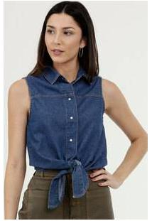 Camisa Feminina Jeans Sem Manga Marisa