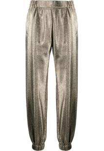 Saint Laurent Metallic-Effect Tapered Trousers - Dourado