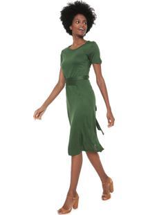 Vestido Cantão Midi Amarração Verde