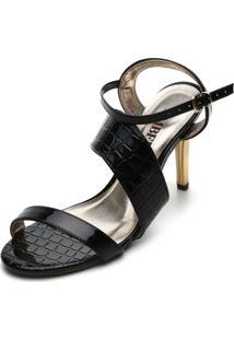 Sandália Amber Croco Preta