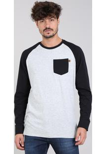 Camiseta Masculina Raglan Botonê Com Bolso Manga Longa Gola Careca Cinza Mescla Claro