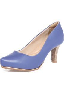 Scarpin Comfortflex Bico Fino Azul