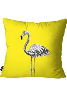Capa De Almofada Decorativa Avulsa Amarelo Flamingo 45X45Cm Pump Up