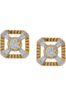 V Jewellery Par De Brinco Eleanor Com Tachas - Dourado