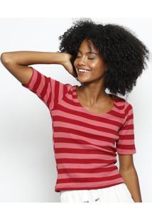 Blusa Listrada Canelada- Rosa & Vermelhahering