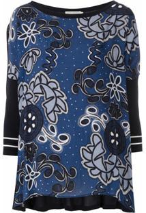 Martha Medeiros Blusa Kimora Tricô E Estampa - Azul