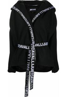 Just Cavalli Jaqueta Com Capuz E Acabamento De Logo - Preto