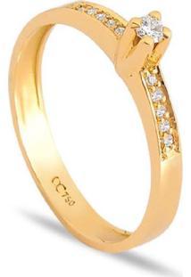 Anel Solitário Em Ouro Amarelo 18K Com Diamantes 10 Pontos